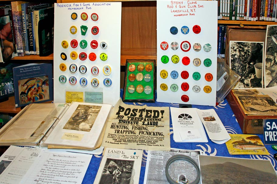 Sporting Clubs memorabilia at the Jerry Bartlett Angling Collection at the Phoencia Library