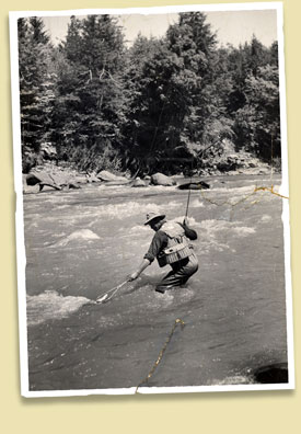 Catskill fishing legend Cal Smith in the stream