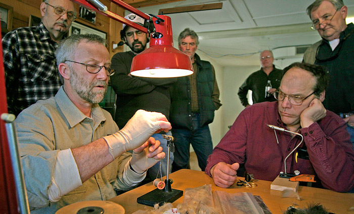 Lenny Millen teaches fly tying